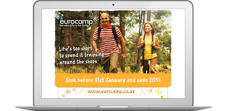 Eurocamp life is short couples email campaign