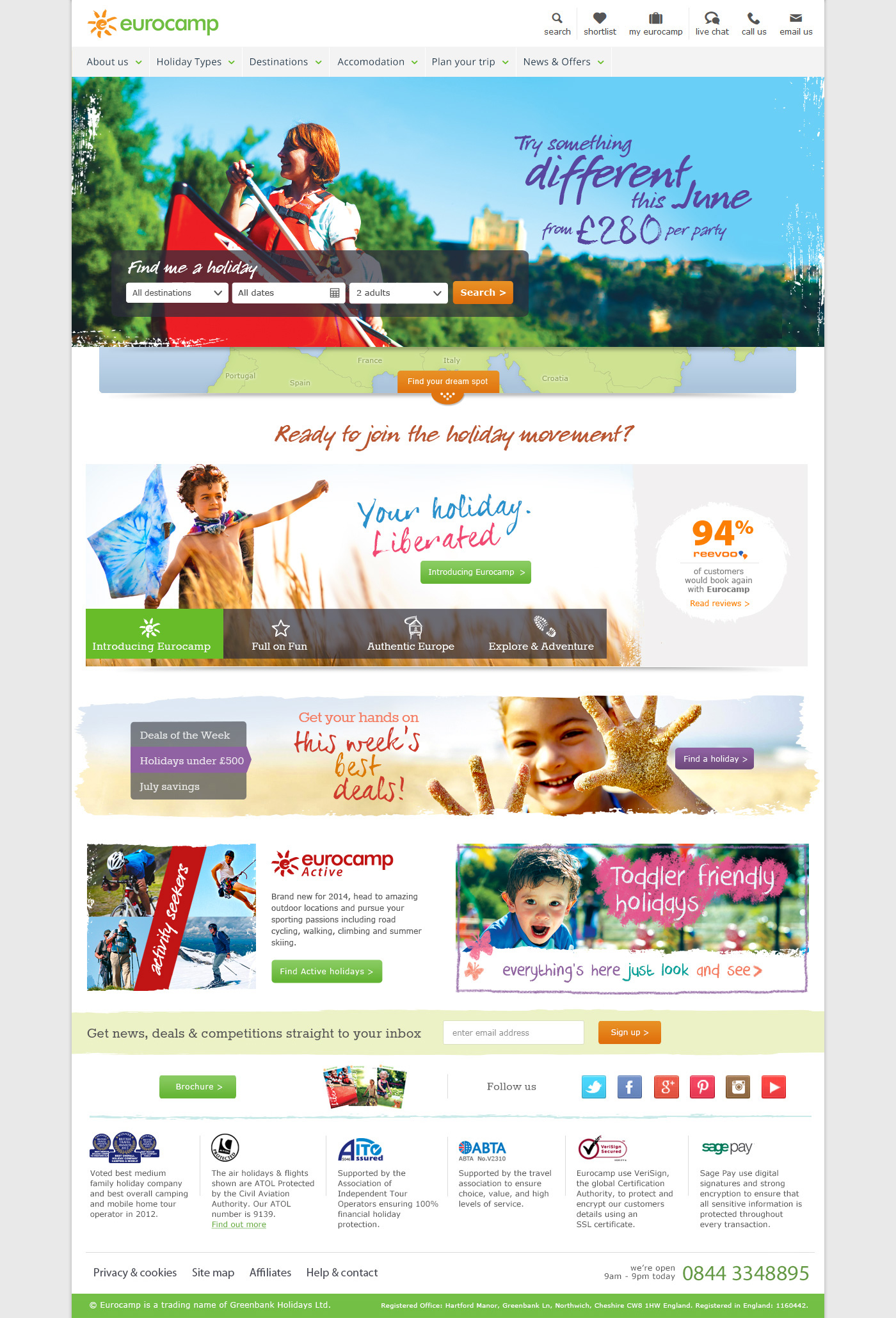 Eurocamp responsive website design