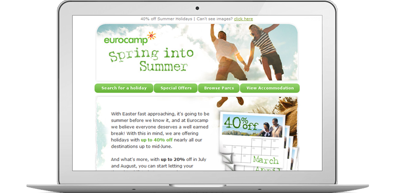 Eurocamp marketing email