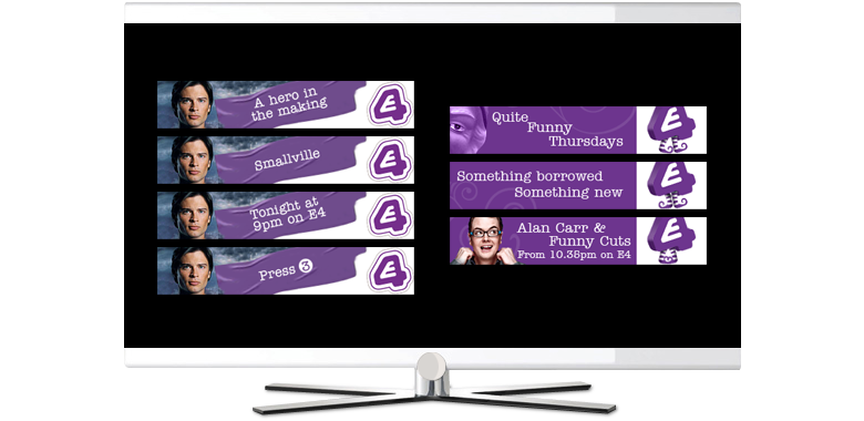 E4 tv advertisment banners