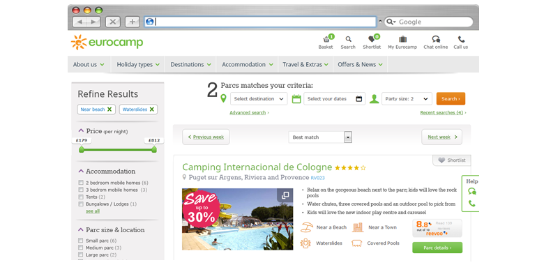 eurocamp ecommerce search results